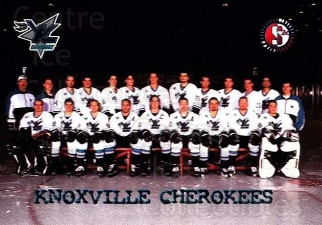 1996-97 Knoxville Cherokees #1 Knoxville Cherokees, Team Photo<br/>1 In Stock - $3.00 each - <a href=https://centericecollectibles.foxycart.com/cart?name=1996-97%20Knoxville%20Cherokees%20%231%20Knoxville%20Chero...&quantity_max=1&price=$3.00&code=49170 class=foxycart> Buy it now! </a>