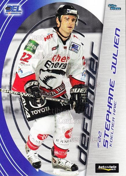 2005-06 German DEL Defender #10 Stephane Julien<br/>1 In Stock - $3.00 each - <a href=https://centericecollectibles.foxycart.com/cart?name=2005-06%20German%20DEL%20Defender%20%2310%20Stephane%20Julien...&quantity_max=1&price=$3.00&code=491964 class=foxycart> Buy it now! </a>
