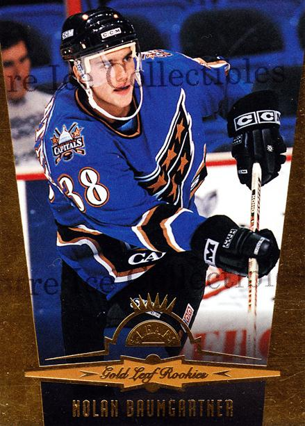 1996-97 Leaf Gold Rookies #6 Nolan Baumgartner<br/>6 In Stock - $2.00 each - <a href=https://centericecollectibles.foxycart.com/cart?name=1996-97%20Leaf%20Gold%20Rookies%20%236%20Nolan%20Baumgartn...&quantity_max=6&price=$2.00&code=49254 class=foxycart> Buy it now! </a>
