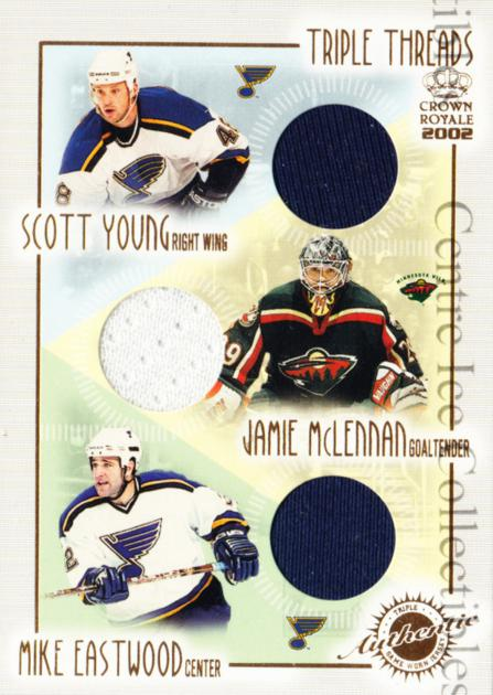 2001-02 Crown Royale Triple Threads #18 Scott Young, Jamie McLennan, Mike Eastwood<br/>1 In Stock - $5.00 each - <a href=https://centericecollectibles.foxycart.com/cart?name=2001-02%20Crown%20Royale%20Triple%20Threads%20%2318%20Scott%20Young,%20Ja...&quantity_max=1&price=$5.00&code=492827 class=foxycart> Buy it now! </a>