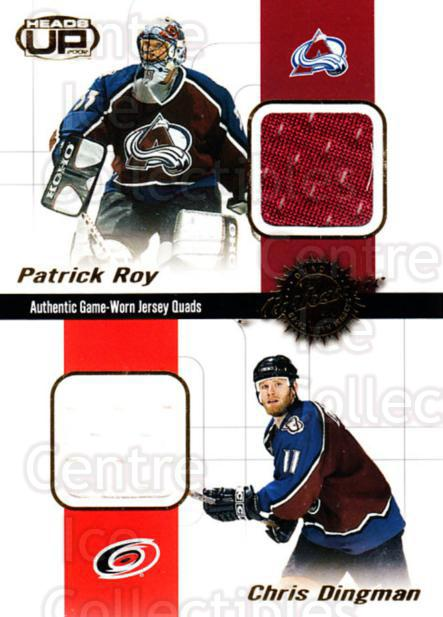 2001-02 Heads-Up Quad Jerseys #9 Patrick Roy, Chris Dingman, Greg deVries, Jon Klemm<br/>2 In Stock - $25.00 each - <a href=https://centericecollectibles.foxycart.com/cart?name=2001-02%20Heads-Up%20Quad%20Jerseys%20%239%20Patrick%20Roy,%20Ch...&price=$25.00&code=492838 class=foxycart> Buy it now! </a>