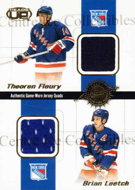 2001-02 Heads-Up Quad Jersey #14 Theo Fleury, Brian Leetch, Mike Richter, Petr Nedved<br/>1 In Stock - $10.00 each - <a href=https://centericecollectibles.foxycart.com/cart?name=2001-02%20Heads-Up%20Quad%20Jersey%20%2314%20Theo%20Fleury,%20Br...&quantity_max=1&price=$10.00&code=492843 class=foxycart> Buy it now! </a>