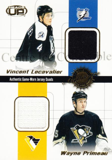 2001-02 Heads-Up Quad Jersey #27 Vincent Lecavalier, Keith Primeau, Matthew Barnaby, Milan Kraft<br/>1 In Stock - $5.00 each - <a href=https://centericecollectibles.foxycart.com/cart?name=2001-02%20Heads-Up%20Quad%20Jersey%20%2327%20Vincent%20Lecaval...&quantity_max=1&price=$5.00&code=492856 class=foxycart> Buy it now! </a>