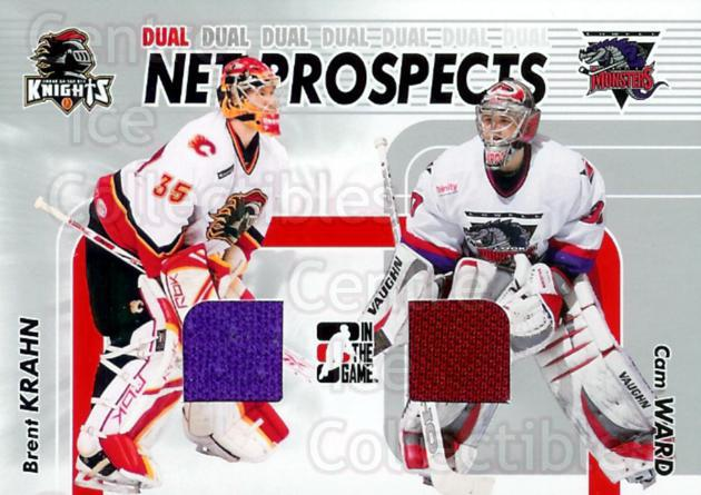2005-06 ITG Heroes and Prospects Net Prospects Dual Jersey Silver #6 Brent Krahn, Cam Ward<br/>1 In Stock - $5.00 each - <a href=https://centericecollectibles.foxycart.com/cart?name=2005-06%20ITG%20Heroes%20and%20Prospects%20Net%20Prospects%20Dual%20Jersey%20Silver%20%236%20Brent%20Krahn,%20Ca...&price=$5.00&code=492973 class=foxycart> Buy it now! </a>
