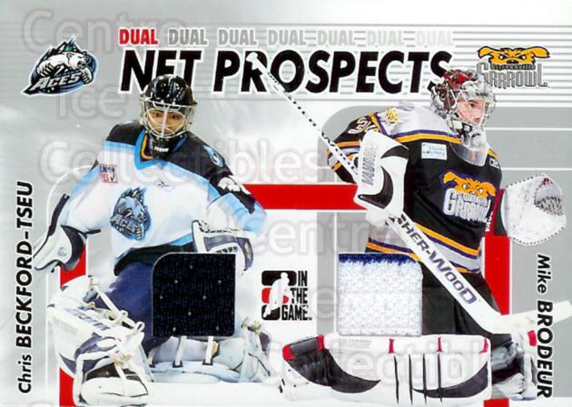 2005-06 ITG Heroes and Prospects Net Prospects Dual Silver #9 Chris Beckford-Tseu, Mike Brodeur<br/>2 In Stock - $5.00 each - <a href=https://centericecollectibles.foxycart.com/cart?name=2005-06%20ITG%20Heroes%20and%20Prospects%20Net%20Prospects%20Dual%20Silver%20%239%20Chris%20Beckford-...&quantity_max=2&price=$5.00&code=492976 class=foxycart> Buy it now! </a>