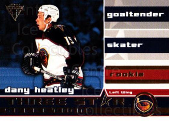 2001-02 Titanium Three-Star Selections #21 Dany Heatley<br/>2 In Stock - $2.00 each - <a href=https://centericecollectibles.foxycart.com/cart?name=2001-02%20Titanium%20Three-Star%20Selections%20%2321%20Dany%20Heatley...&quantity_max=2&price=$2.00&code=493218 class=foxycart> Buy it now! </a>