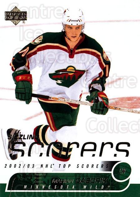 2002-03 Upper Deck Sizzling Scorers #9 Marian Gaborik<br/>3 In Stock - $2.00 each - <a href=https://centericecollectibles.foxycart.com/cart?name=2002-03%20Upper%20Deck%20Sizzling%20Scorers%20%239%20Marian%20Gaborik...&quantity_max=3&price=$2.00&code=493301 class=foxycart> Buy it now! </a>