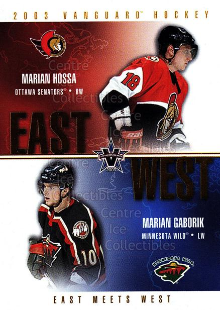 2002-03 Vanguard East Meets West #8 Marian Hossa, Marian Gaborik<br/>2 In Stock - $3.00 each - <a href=https://centericecollectibles.foxycart.com/cart?name=2002-03%20Vanguard%20East%20Meets%20West%20%238%20Marian%20Hossa,%20M...&quantity_max=2&price=$3.00&code=493908 class=foxycart> Buy it now! </a>