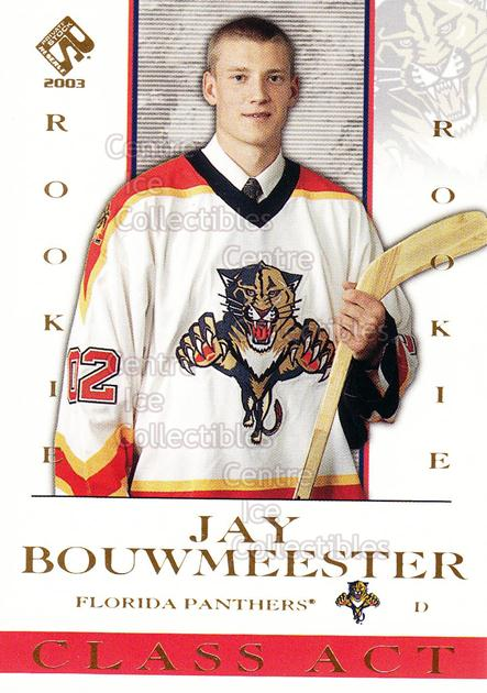 2002-03 Private Stock Class Act #8 Jay Bouwmeester<br/>2 In Stock - $2.00 each - <a href=https://centericecollectibles.foxycart.com/cart?name=2002-03%20Private%20Stock%20Class%20Act%20%238%20Jay%20Bouwmeester...&quantity_max=2&price=$2.00&code=493965 class=foxycart> Buy it now! </a>