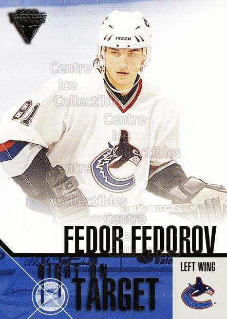 2002-03 Titanium Right on Target #20 Fedor Fedorov<br/>7 In Stock - $2.00 each - <a href=https://centericecollectibles.foxycart.com/cart?name=2002-03%20Titanium%20Right%20on%20Target%20%2320%20Fedor%20Fedorov...&quantity_max=7&price=$2.00&code=493981 class=foxycart> Buy it now! </a>