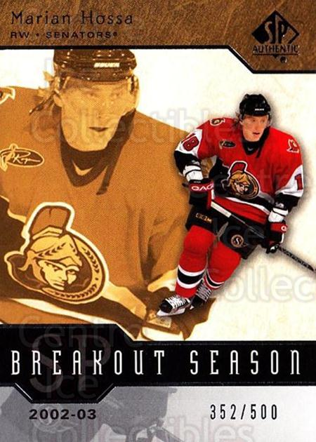 2003-04 SP Authentic Breakout Season #26 Marian Hossa<br/>3 In Stock - $5.00 each - <a href=https://centericecollectibles.foxycart.com/cart?name=2003-04%20SP%20Authentic%20Breakout%20Season%20%2326%20Marian%20Hossa...&quantity_max=3&price=$5.00&code=494118 class=foxycart> Buy it now! </a>
