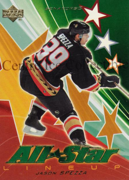 2003-04 Upper Deck AS Lineup #6 Jason Spezza<br/>1 In Stock - $3.00 each - <a href=https://centericecollectibles.foxycart.com/cart?name=2003-04%20Upper%20Deck%20AS%20Lineup%20%236%20Jason%20Spezza...&quantity_max=1&price=$3.00&code=494216 class=foxycart> Buy it now! </a>