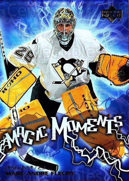 2003-04 Upper Deck Magic Moments #9 Marc-Andre Fleury<br/>1 In Stock - $3.00 each - <a href=https://centericecollectibles.foxycart.com/cart?name=2003-04%20Upper%20Deck%20Magic%20Moments%20%239%20Marc-Andre%20Fleu...&quantity_max=1&price=$3.00&code=494241 class=foxycart> Buy it now! </a>