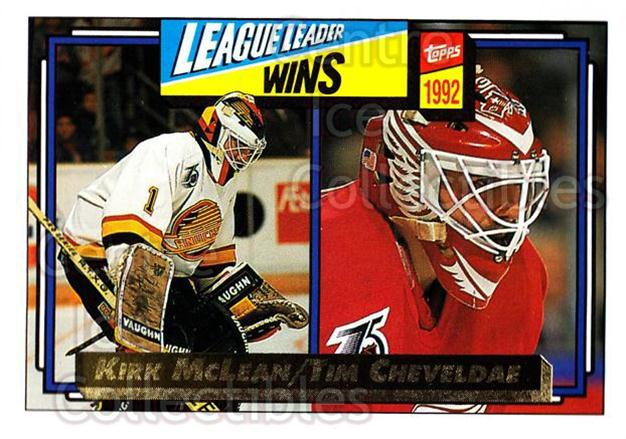1992-93 Topps Gold #225 Tim Cheveldae, Kirk McLean<br/>4 In Stock - $3.00 each - <a href=https://centericecollectibles.foxycart.com/cart?name=1992-93%20Topps%20Gold%20%23225%20Tim%20Cheveldae,%20...&quantity_max=4&price=$3.00&code=494 class=foxycart> Buy it now! </a>