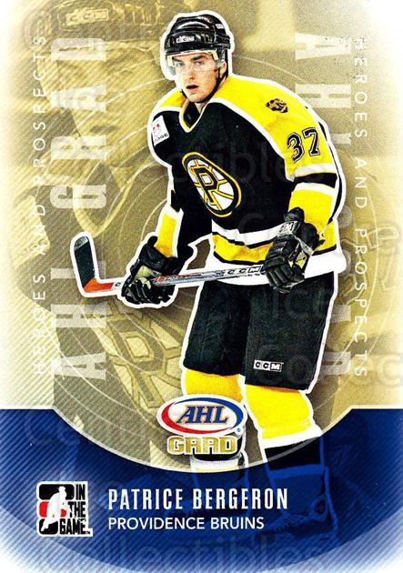 2011-12 ITG Heroes and Prospects #152 Patrice Bergeron<br/>2 In Stock - $2.00 each - <a href=https://centericecollectibles.foxycart.com/cart?name=2011-12%20ITG%20Heroes%20and%20Prospects%20%23152%20Patrice%20Bergero...&quantity_max=2&price=$2.00&code=497001 class=foxycart> Buy it now! </a>