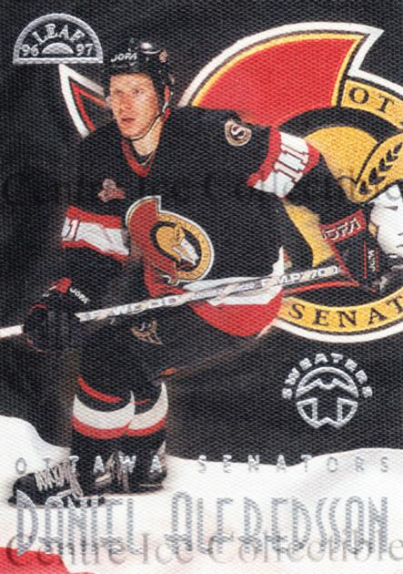1996-97 Leaf Sweaters Away #14 Daniel Alfredsson<br/>2 In Stock - $10.00 each - <a href=https://centericecollectibles.foxycart.com/cart?name=1996-97%20Leaf%20Sweaters%20Away%20%2314%20Daniel%20Alfredss...&quantity_max=2&price=$10.00&code=49740 class=foxycart> Buy it now! </a>