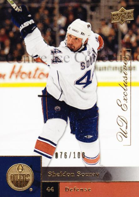 2009-10 Upper Deck UD Exclusives #196 Sheldon Souray<br/>1 In Stock - $5.00 each - <a href=https://centericecollectibles.foxycart.com/cart?name=2009-10%20Upper%20Deck%20UD%20Exclusives%20%23196%20Sheldon%20Souray...&quantity_max=1&price=$5.00&code=497827 class=foxycart> Buy it now! </a>