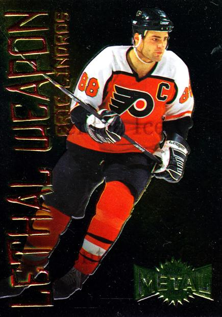 1996-97 Metal Universe Lethal Weapons #12 Eric Lindros<br/>1 In Stock - $3.00 each - <a href=https://centericecollectibles.foxycart.com/cart?name=1996-97%20Metal%20Universe%20Lethal%20Weapons%20%2312%20Eric%20Lindros...&quantity_max=1&price=$3.00&code=49966 class=foxycart> Buy it now! </a>