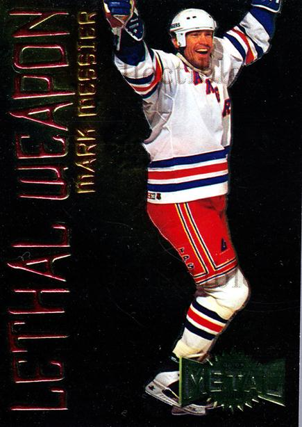 1996-97 Metal Universe Lethal Weapons #13 Mark Messier<br/>4 In Stock - $3.00 each - <a href=https://centericecollectibles.foxycart.com/cart?name=1996-97%20Metal%20Universe%20Lethal%20Weapons%20%2313%20Mark%20Messier...&quantity_max=4&price=$3.00&code=49967 class=foxycart> Buy it now! </a>