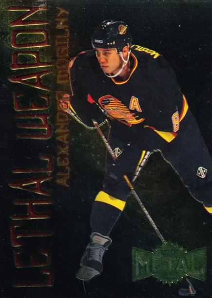 1996-97 Metal Universe Lethal Weapons #14 Alexander Mogilny<br/>5 In Stock - $3.00 each - <a href=https://centericecollectibles.foxycart.com/cart?name=1996-97%20Metal%20Universe%20Lethal%20Weapons%20%2314%20Alexander%20Mogil...&quantity_max=5&price=$3.00&code=49968 class=foxycart> Buy it now! </a>
