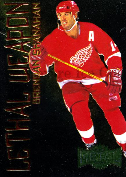 1996-97 Metal Universe Lethal Weapons #18 Brendan Shanahan<br/>1 In Stock - $3.00 each - <a href=https://centericecollectibles.foxycart.com/cart?name=1996-97%20Metal%20Universe%20Lethal%20Weapons%20%2318%20Brendan%20Shanaha...&quantity_max=1&price=$3.00&code=49970 class=foxycart> Buy it now! </a>