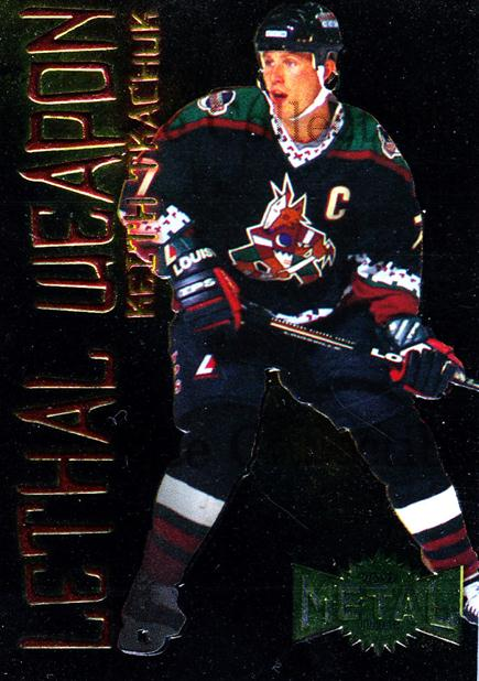 1996-97 Metal Universe Lethal Weapons #19 Keith Tkachuk<br/>5 In Stock - $3.00 each - <a href=https://centericecollectibles.foxycart.com/cart?name=1996-97%20Metal%20Universe%20Lethal%20Weapons%20%2319%20Keith%20Tkachuk...&quantity_max=5&price=$3.00&code=49971 class=foxycart> Buy it now! </a>