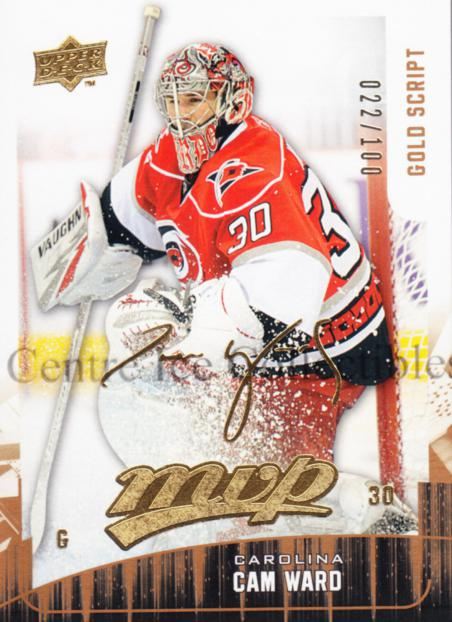 2009-10 Upper Deck MVP Gold Script #244 Cam Ward<br/>1 In Stock - $5.00 each - <a href=https://centericecollectibles.foxycart.com/cart?name=2009-10%20Upper%20Deck%20MVP%20Gold%20Script%20%23244%20Cam%20Ward...&price=$5.00&code=500452 class=foxycart> Buy it now! </a>