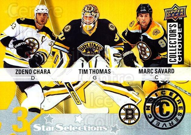 2009-10 Collectors Choice Reserve #203 Tim Thomas, Marc Savard, Zdeno Chara<br/>2 In Stock - $2.00 each - <a href=https://centericecollectibles.foxycart.com/cart?name=2009-10%20Collectors%20Choice%20Reserve%20%23203%20Tim%20Thomas,%20Mar...&quantity_max=2&price=$2.00&code=500805 class=foxycart> Buy it now! </a>