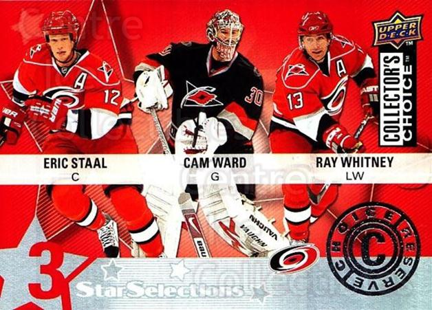 2009-10 Collectors Choice Reserve #206 Eric Staal, Cam Ward, Ray Whitney<br/>2 In Stock - $2.00 each - <a href=https://centericecollectibles.foxycart.com/cart?name=2009-10%20Collectors%20Choice%20Reserve%20%23206%20Eric%20Staal,%20Cam...&quantity_max=2&price=$2.00&code=500808 class=foxycart> Buy it now! </a>