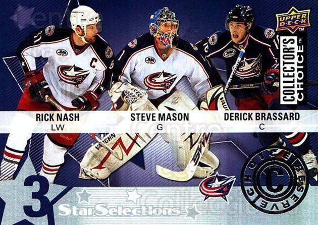 2009-10 Collectors Choice Reserve #209 Derick Brassard, Steve Mason, Rick Nash<br/>2 In Stock - $2.00 each - <a href=https://centericecollectibles.foxycart.com/cart?name=2009-10%20Collectors%20Choice%20Reserve%20%23209%20Derick%20Brassard...&quantity_max=2&price=$2.00&code=500811 class=foxycart> Buy it now! </a>
