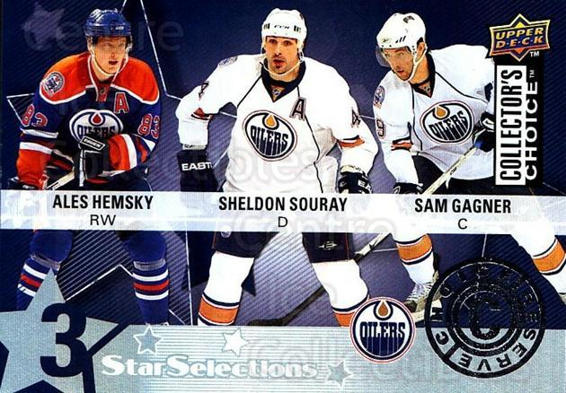 2009-10 Collectors Choice Reserve #212 Sam Gagner, Sheldon Souray, Ales Hemsky<br/>2 In Stock - $2.00 each - <a href=https://centericecollectibles.foxycart.com/cart?name=2009-10%20Collectors%20Choice%20Reserve%20%23212%20Sam%20Gagner,%20She...&quantity_max=2&price=$2.00&code=500814 class=foxycart> Buy it now! </a>