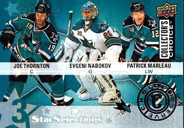 2009-10 Collectors Choice Reserve #225 Evgeni Nabokov, Joe Thornton, Patrick Marleau<br/>3 In Stock - $2.00 each - <a href=https://centericecollectibles.foxycart.com/cart?name=2009-10%20Collectors%20Choice%20Reserve%20%23225%20Evgeni%20Nabokov,...&quantity_max=3&price=$2.00&code=500827 class=foxycart> Buy it now! </a>