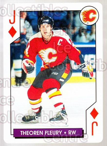 1996-97 NHL Aces Playing Card #37 Theo Fleury<br/>5 In Stock - $2.00 each - <a href=https://centericecollectibles.foxycart.com/cart?name=1996-97%20NHL%20Aces%20Playing%20Card%20%2337%20Theo%20Fleury...&quantity_max=5&price=$2.00&code=50127 class=foxycart> Buy it now! </a>