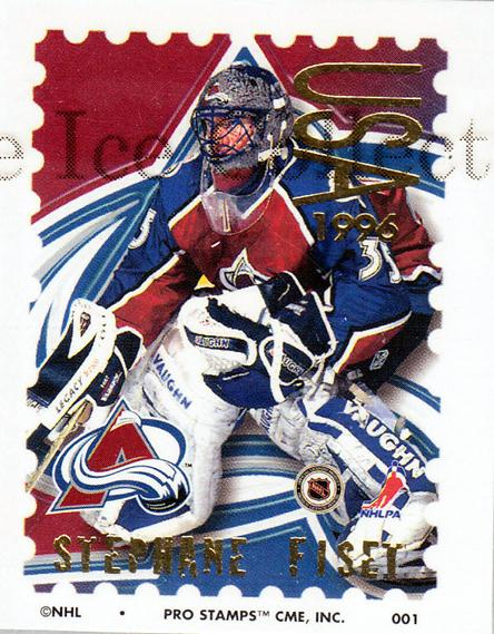 1996-97 NHL Pro Stamps #1 Stephane Fiset<br/>28 In Stock - $2.00 each - <a href=https://centericecollectibles.foxycart.com/cart?name=1996-97%20NHL%20Pro%20Stamps%20%231%20Stephane%20Fiset...&quantity_max=28&price=$2.00&code=50167 class=foxycart> Buy it now! </a>