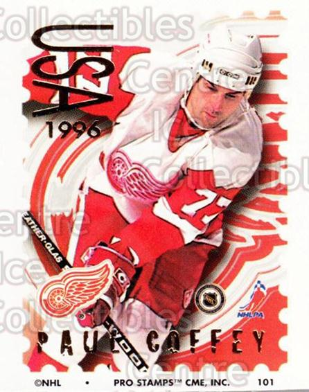 1996-97 NHL Pro Stamps #101 Paul Coffey<br/>29 In Stock - $2.00 each - <a href=https://centericecollectibles.foxycart.com/cart?name=1996-97%20NHL%20Pro%20Stamps%20%23101%20Paul%20Coffey...&quantity_max=29&price=$2.00&code=50170 class=foxycart> Buy it now! </a>