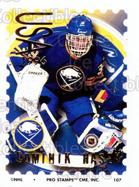 1996-97 NHL Pro Stamps #107 Dominik Hasek<br/>43 In Stock - $2.00 each - <a href=https://centericecollectibles.foxycart.com/cart?name=1996-97%20NHL%20Pro%20Stamps%20%23107%20Dominik%20Hasek...&quantity_max=43&price=$2.00&code=50173 class=foxycart> Buy it now! </a>