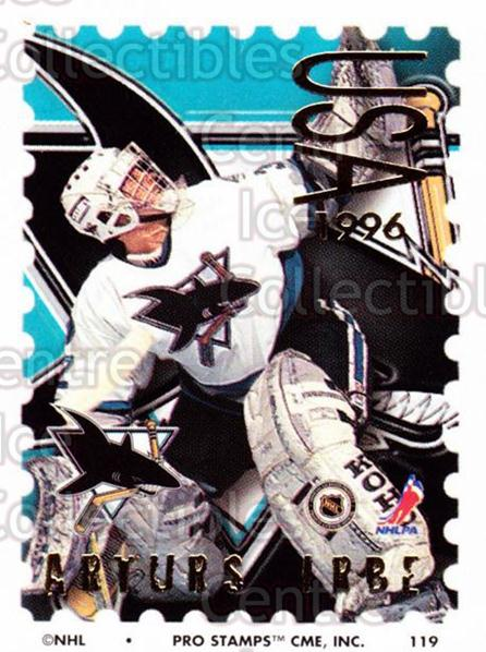 1996-97 NHL Pro Stamps #119 Arturs Irbe<br/>51 In Stock - $2.00 each - <a href=https://centericecollectibles.foxycart.com/cart?name=1996-97%20NHL%20Pro%20Stamps%20%23119%20Arturs%20Irbe...&quantity_max=51&price=$2.00&code=50186 class=foxycart> Buy it now! </a>