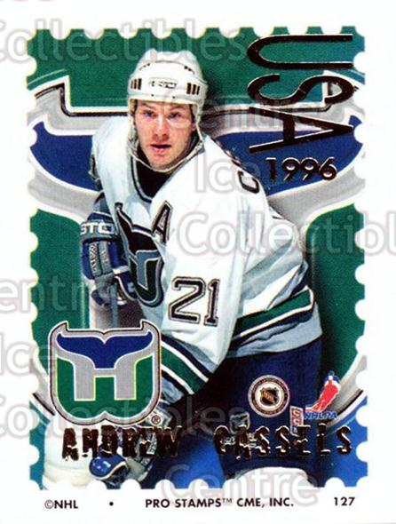 1996-97 NHL Pro Stamps #127 Andrew Cassels<br/>34 In Stock - $2.00 each - <a href=https://centericecollectibles.foxycart.com/cart?name=1996-97%20NHL%20Pro%20Stamps%20%23127%20Andrew%20Cassels...&quantity_max=34&price=$2.00&code=50194 class=foxycart> Buy it now! </a>
