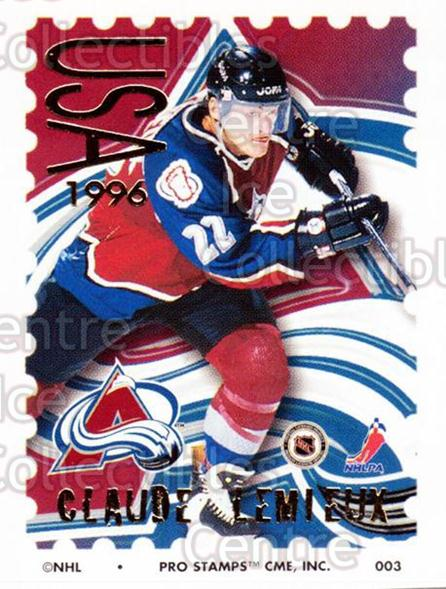 1996-97 NHL Pro Stamps #3 Claude Lemieux<br/>59 In Stock - $2.00 each - <a href=https://centericecollectibles.foxycart.com/cart?name=1996-97%20NHL%20Pro%20Stamps%20%233%20Claude%20Lemieux...&quantity_max=59&price=$2.00&code=50213 class=foxycart> Buy it now! </a>
