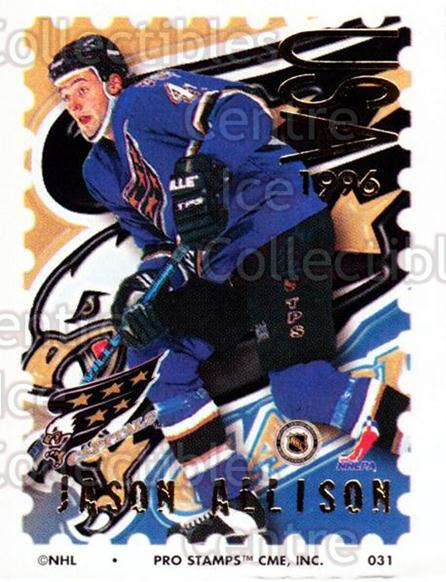 1996-97 NHL Pro Stamps #31 Jason Allison<br/>32 In Stock - $2.00 each - <a href=https://centericecollectibles.foxycart.com/cart?name=1996-97%20NHL%20Pro%20Stamps%20%2331%20Jason%20Allison...&quantity_max=32&price=$2.00&code=50215 class=foxycart> Buy it now! </a>