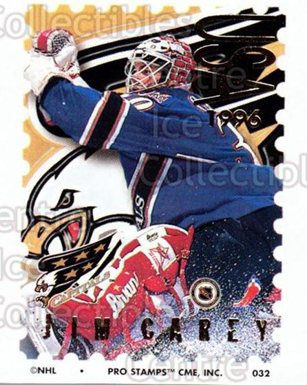 1996-97 NHL Pro Stamps #32 Jim Carey<br/>30 In Stock - $2.00 each - <a href=https://centericecollectibles.foxycart.com/cart?name=1996-97%20NHL%20Pro%20Stamps%20%2332%20Jim%20Carey...&quantity_max=30&price=$2.00&code=50216 class=foxycart> Buy it now! </a>