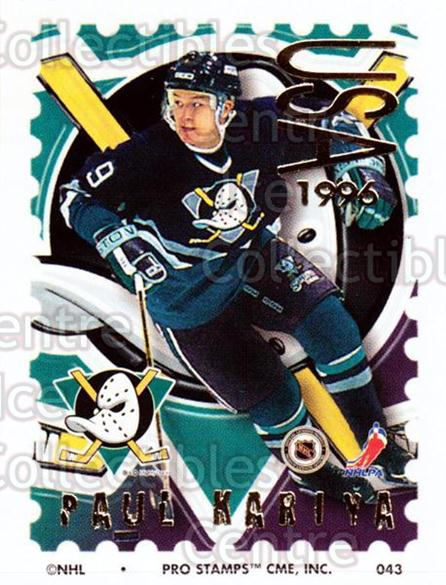 1996-97 NHL Pro Stamps #43 Paul Kariya<br/>30 In Stock - $2.00 each - <a href=https://centericecollectibles.foxycart.com/cart?name=1996-97%20NHL%20Pro%20Stamps%20%2343%20Paul%20Kariya...&quantity_max=30&price=$2.00&code=50227 class=foxycart> Buy it now! </a>