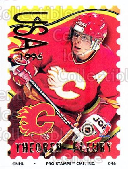 1996-97 NHL Pro Stamps #46 Theo Fleury<br/>25 In Stock - $2.00 each - <a href=https://centericecollectibles.foxycart.com/cart?name=1996-97%20NHL%20Pro%20Stamps%20%2346%20Theo%20Fleury...&quantity_max=25&price=$2.00&code=50230 class=foxycart> Buy it now! </a>