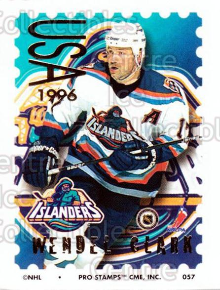 1996-97 NHL Pro Stamps #57 Wendel Clark<br/>29 In Stock - $2.00 each - <a href=https://centericecollectibles.foxycart.com/cart?name=1996-97%20NHL%20Pro%20Stamps%20%2357%20Wendel%20Clark...&quantity_max=29&price=$2.00&code=50241 class=foxycart> Buy it now! </a>