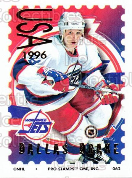 1996-97 NHL Pro Stamps #62 Dallas Drake<br/>29 In Stock - $2.00 each - <a href=https://centericecollectibles.foxycart.com/cart?name=1996-97%20NHL%20Pro%20Stamps%20%2362%20Dallas%20Drake...&quantity_max=29&price=$2.00&code=50247 class=foxycart> Buy it now! </a>