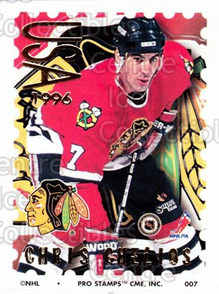 1996-97 NHL Pro Stamps #7 Chris Chelios<br/>32 In Stock - $2.00 each - <a href=https://centericecollectibles.foxycart.com/cart?name=1996-97%20NHL%20Pro%20Stamps%20%237%20Chris%20Chelios...&quantity_max=32&price=$2.00&code=50253 class=foxycart> Buy it now! </a>