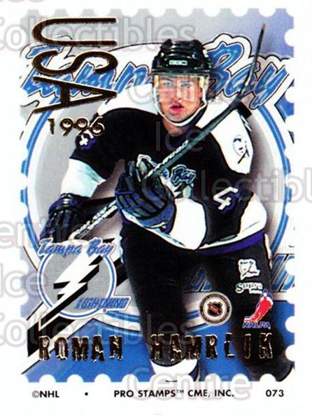 1996-97 NHL Pro Stamps #73 Roman Hamrlik<br/>29 In Stock - $2.00 each - <a href=https://centericecollectibles.foxycart.com/cart?name=1996-97%20NHL%20Pro%20Stamps%20%2373%20Roman%20Hamrlik...&quantity_max=29&price=$2.00&code=50257 class=foxycart> Buy it now! </a>