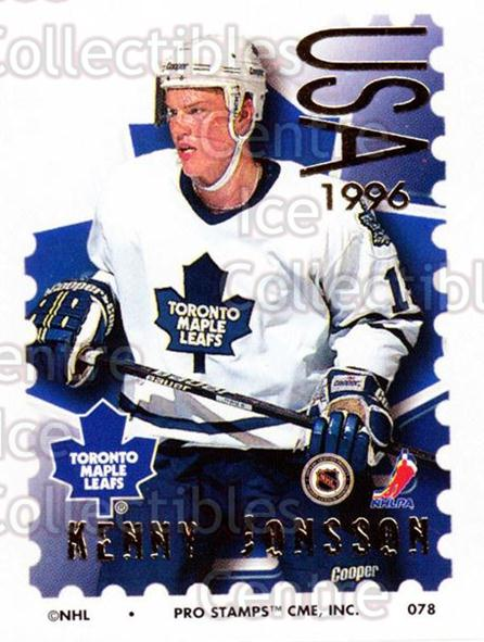 1996-97 NHL Pro Stamps #78 Kenny Jonsson<br/>29 In Stock - $2.00 each - <a href=https://centericecollectibles.foxycart.com/cart?name=1996-97%20NHL%20Pro%20Stamps%20%2378%20Kenny%20Jonsson...&quantity_max=29&price=$2.00&code=50262 class=foxycart> Buy it now! </a>