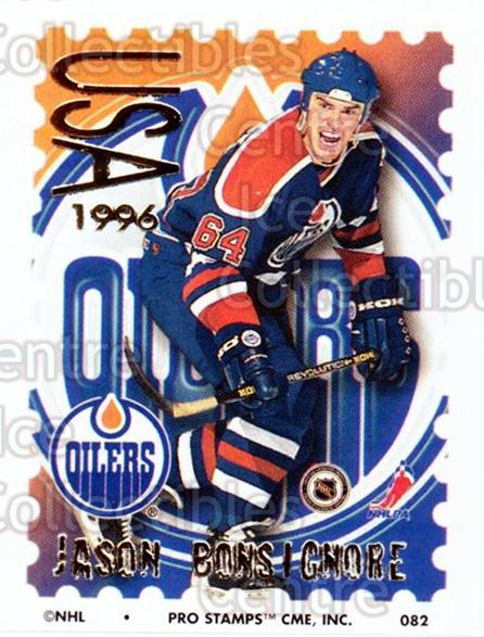1996-97 NHL Pro Stamps #82 Jason Bonsignore<br/>30 In Stock - $2.00 each - <a href=https://centericecollectibles.foxycart.com/cart?name=1996-97%20NHL%20Pro%20Stamps%20%2382%20Jason%20Bonsignor...&quantity_max=30&price=$2.00&code=50267 class=foxycart> Buy it now! </a>