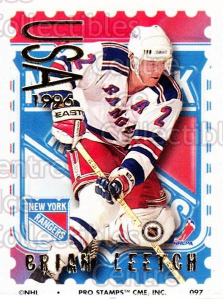 1996-97 NHL Pro Stamps #97 Brian Leetch<br/>30 In Stock - $2.00 each - <a href=https://centericecollectibles.foxycart.com/cart?name=1996-97%20NHL%20Pro%20Stamps%20%2397%20Brian%20Leetch...&quantity_max=30&price=$2.00&code=50281 class=foxycart> Buy it now! </a>